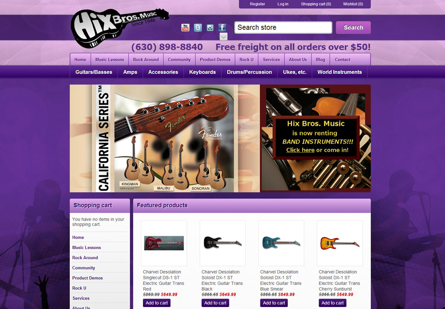 Independent Music Store Web Design