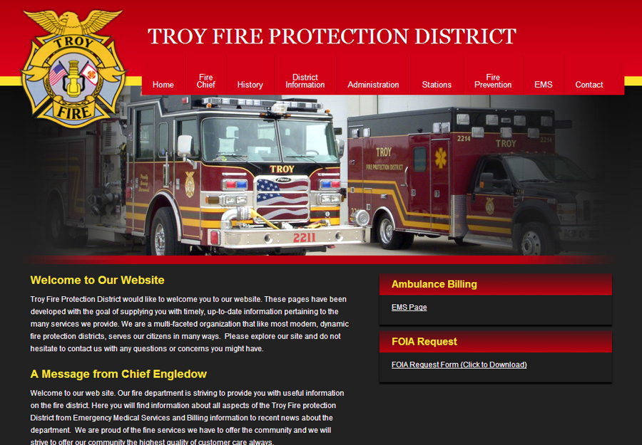 Fire Department Web Design Fire Protection District Web