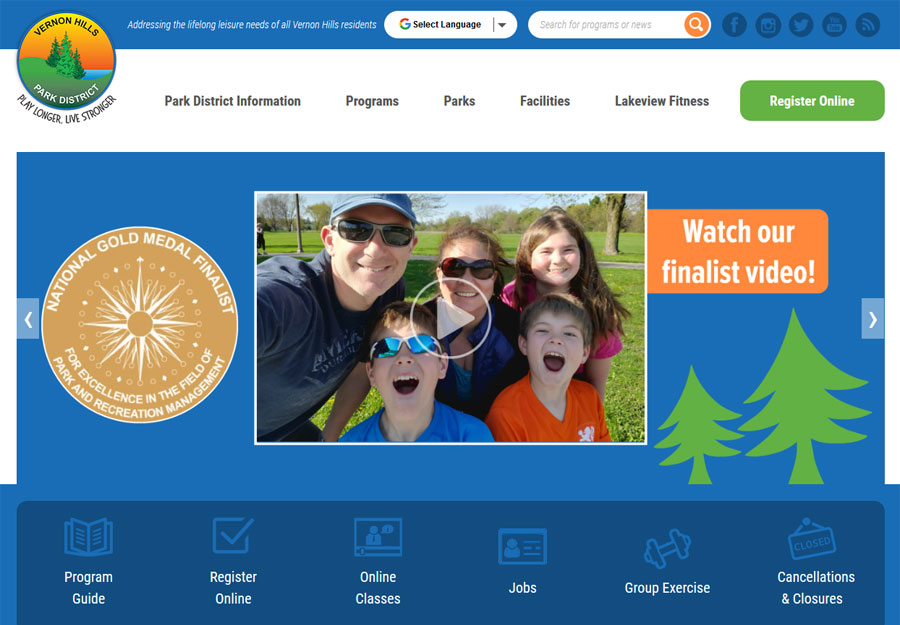 Park District and Recreation Web Design