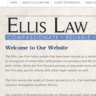 A screen capture of Ellis Law Firm's website