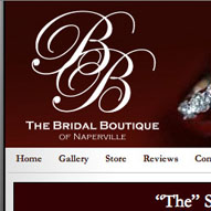 A screen capture of Bridal Boutique's website